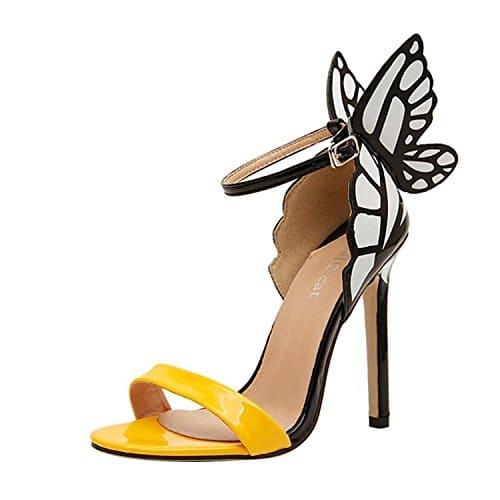 Minetom Damen Frauen Sommer schleife Schmetterling Schuhe High Heel Sandalen Pumps Abendschuhe ( Gelb EU 36 )