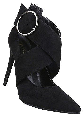 Damen Pumps Schuhe High Heels Stiletto Abendschuhe Schwarz 40