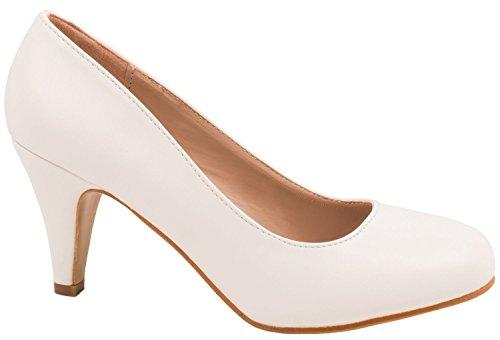 Elara Damen Pumps | Klassische Stilettos | Lederoptik Abendschuhe Größe 40, Farbe Weiss