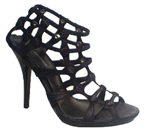 41Ym+ShKI7L - Abendschuhe Ballschuhe High Heels Stilettos Sandalen schwarz Satin (36)