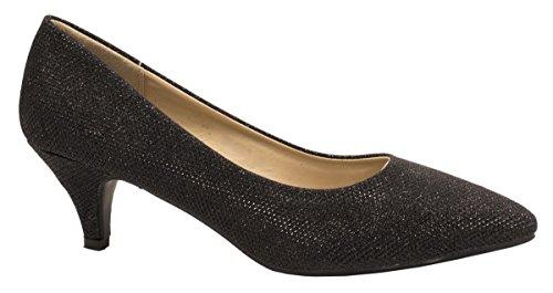 Elara Spitze Damen Pumps | Bequeme Glitzer Stilettos | Trendy Abendschuhe Farbe Schwarz, Größe 40