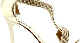 Damen T-Bar Abend Diamante Verkrusteten Hochzeit Abschlussball Sandalen - Gold - 39 - CD0164D