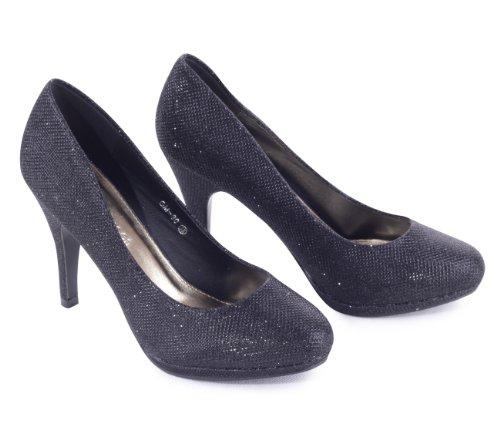 Damenschuhe Glitzer Pumps Abendschuhe Hochzeitschuhe Brautschuhe Partyschuhe High Heels, Schuhgröße:40;Farbe:Schwarz